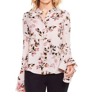 Vince Camuto Blouse Flare-Sleeve Floral Print top